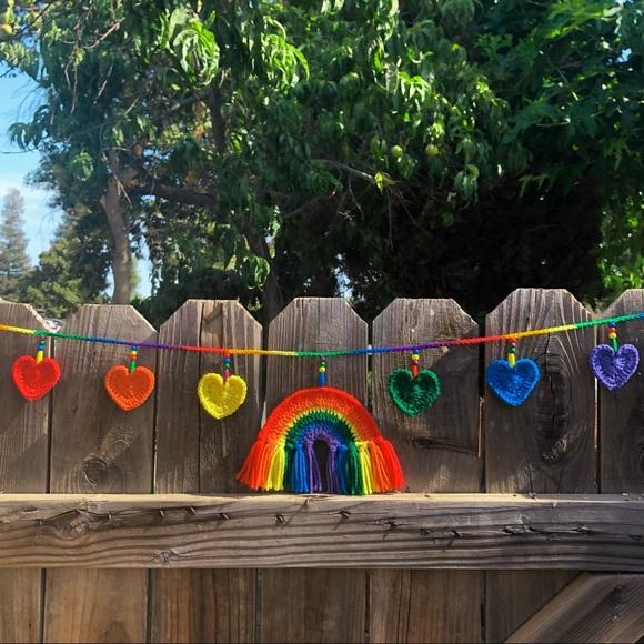 🌈Handmade Crochet Rainbow Heart Garland🌈